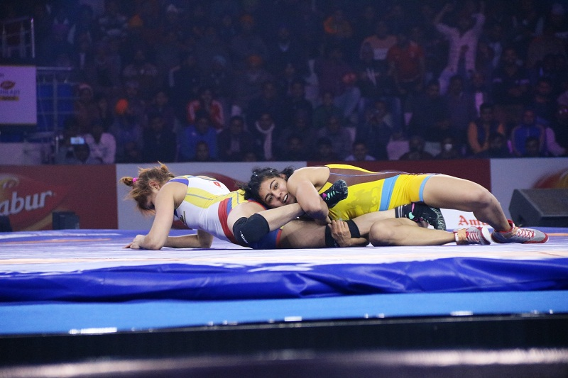 Pooja Dhanda of MP Yodha proving her worth with an amazing come back against Mumbai Maharathis Betzabeth Angelica Final Score 7 4 2